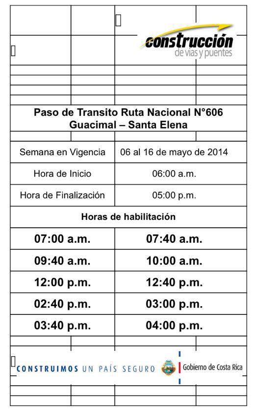 Horario de apertura de camino de Monteverde